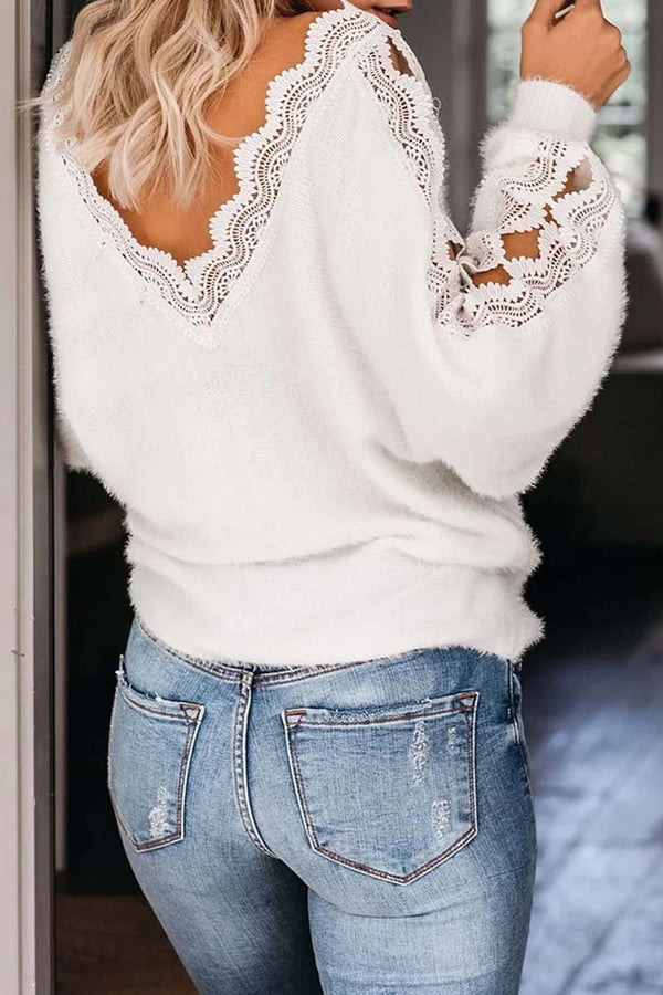 Borical V Neck Lace Patchwork White Sweater