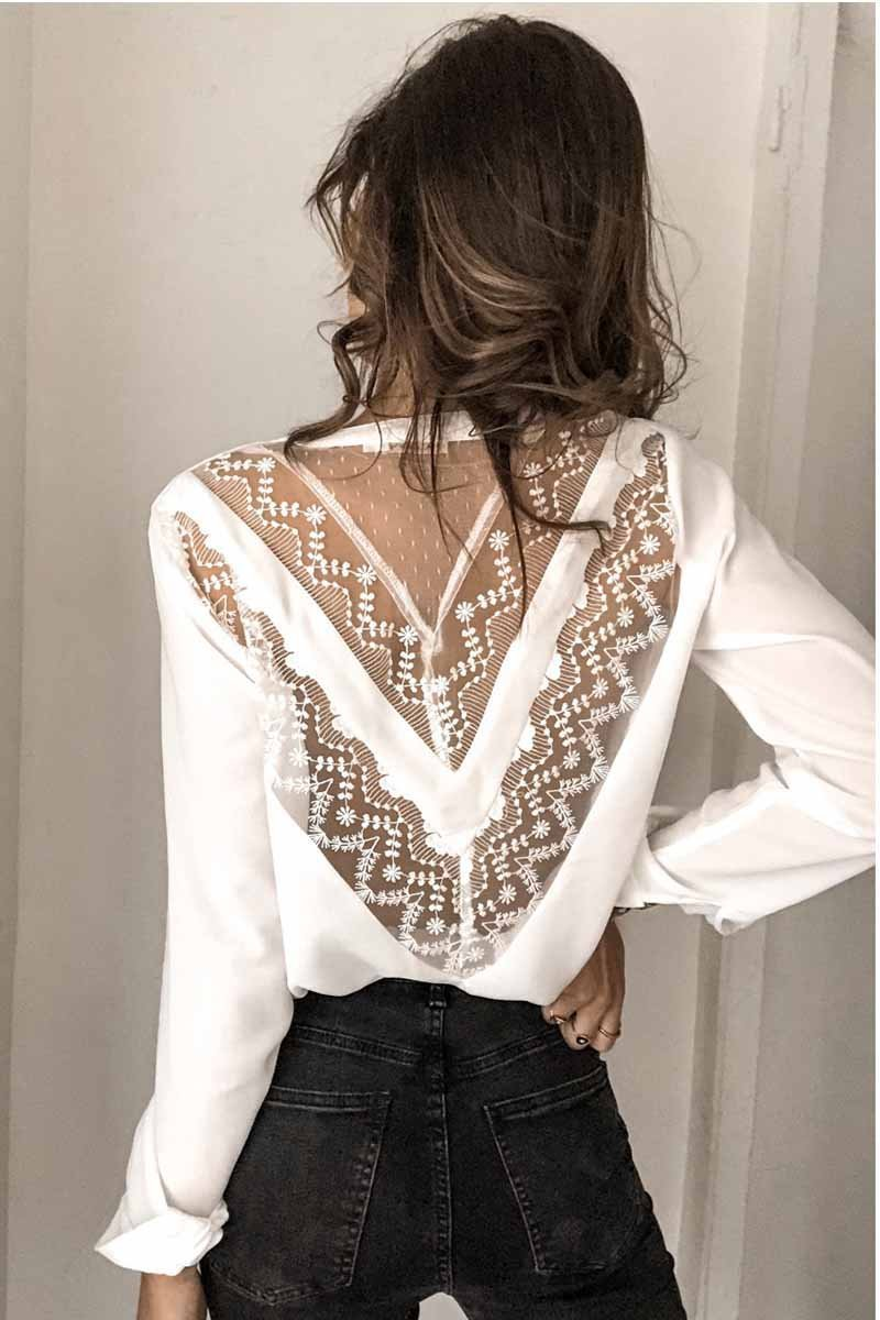 Women Sexy Lace Blouse