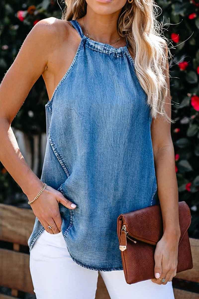 Borical Lace Sexy Denim Vest