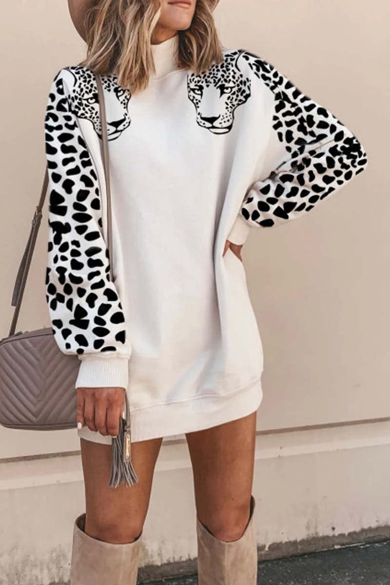 Leopard Print Mini Dress With long sleeve