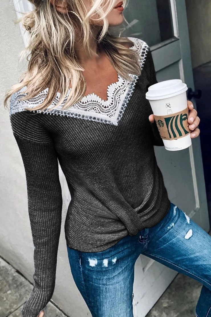 Borical Stylish Lace Patchwork Grey Sweater (3 Colors)