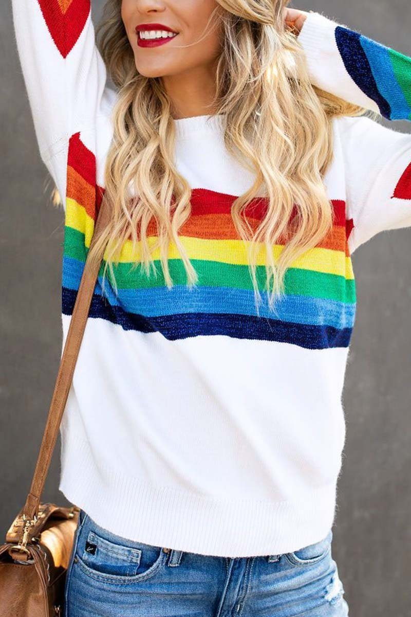 Borical Rainbow Design White Sweater