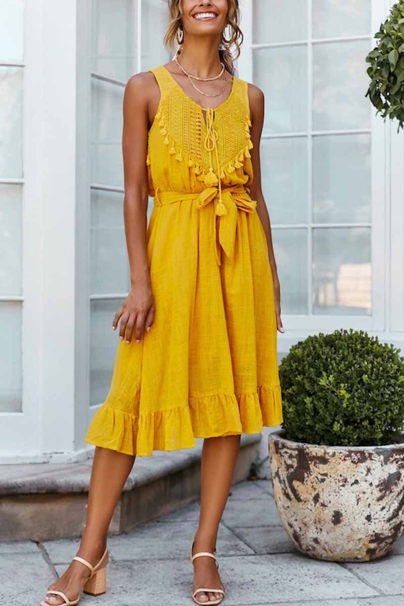 yellow midi dress with belts