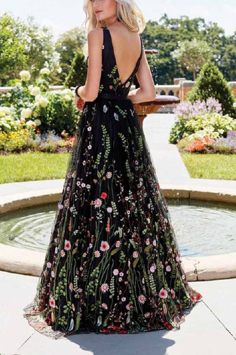 balck Embroidered gown dress