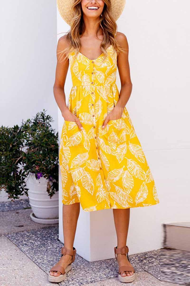 Yellow Leaf Printed Slip Dress