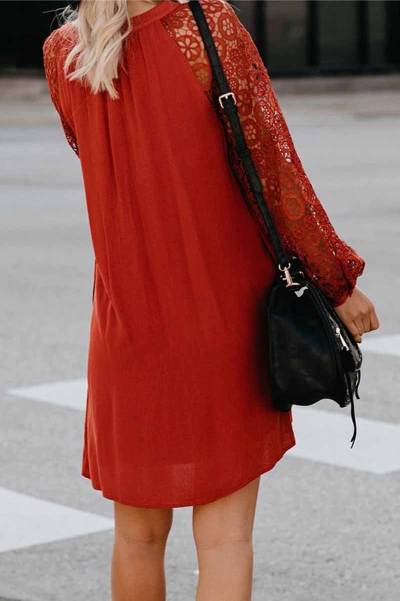 Borical V-Neck Lace Dress