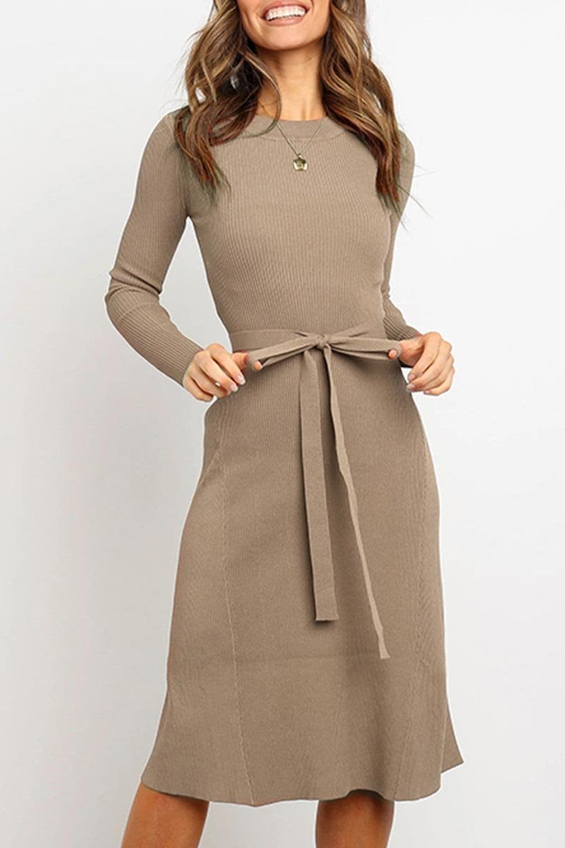 Borical Lace-up Solid Autumn Dress