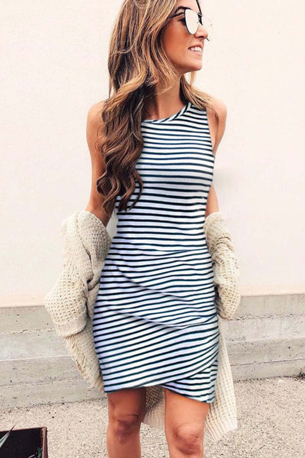 Borical Sleeveless Striped Vest Dress
