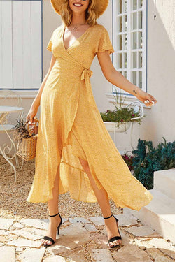 Casual Floral yellow Midi Dress