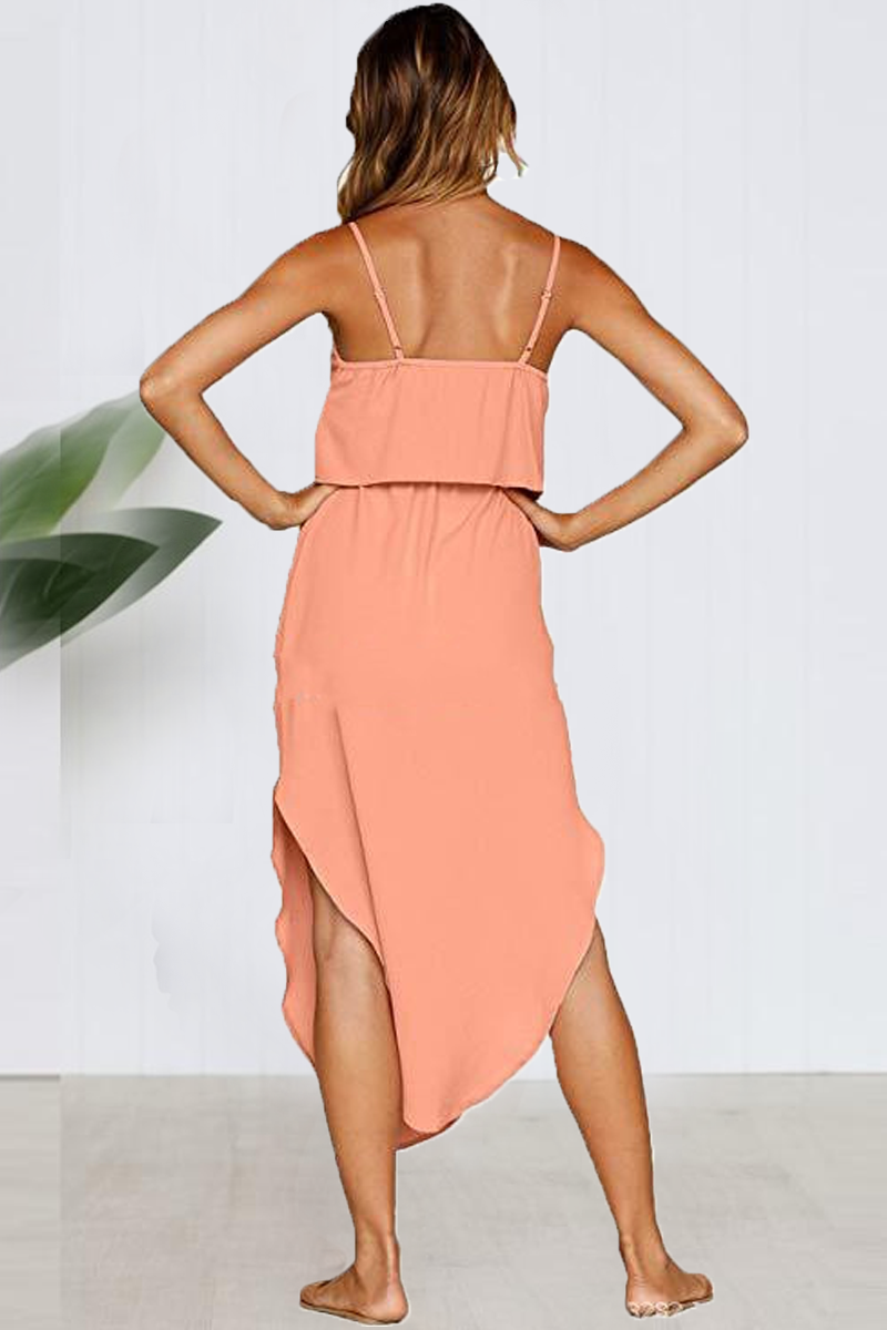 Borical Waist Strap Side Slit Fashion Dress