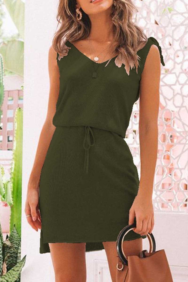 sexy  v collar sleeveless irregular vacation dress
