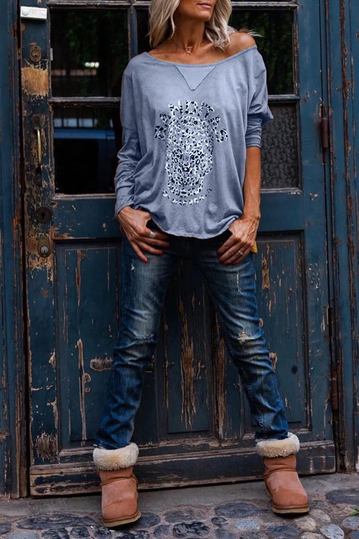 Borical Skull Head Printed Loose Long Sleeve T-shirt
