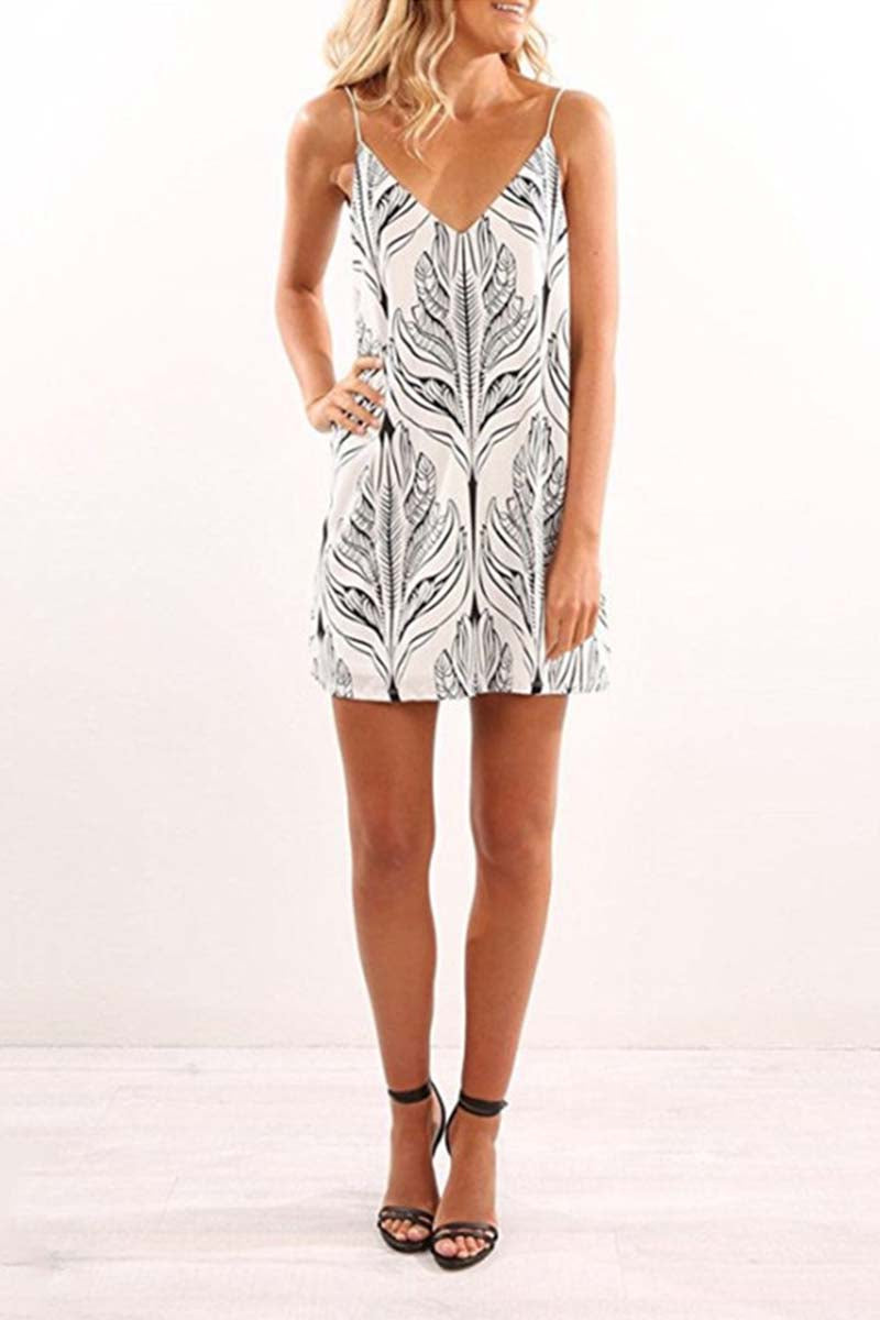 Borical V-Neck Printed Camisole Mini Dress