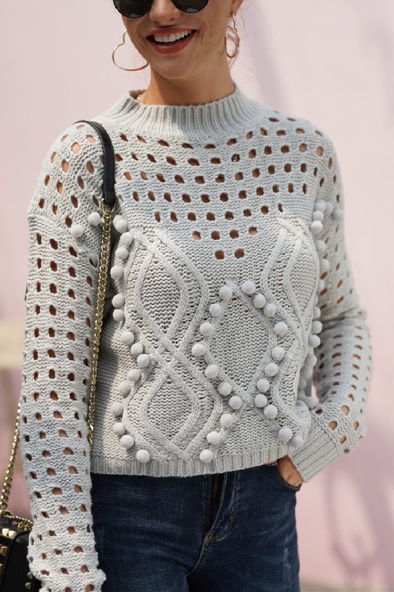 Borical Pompon Knit Sweater(4 colors)