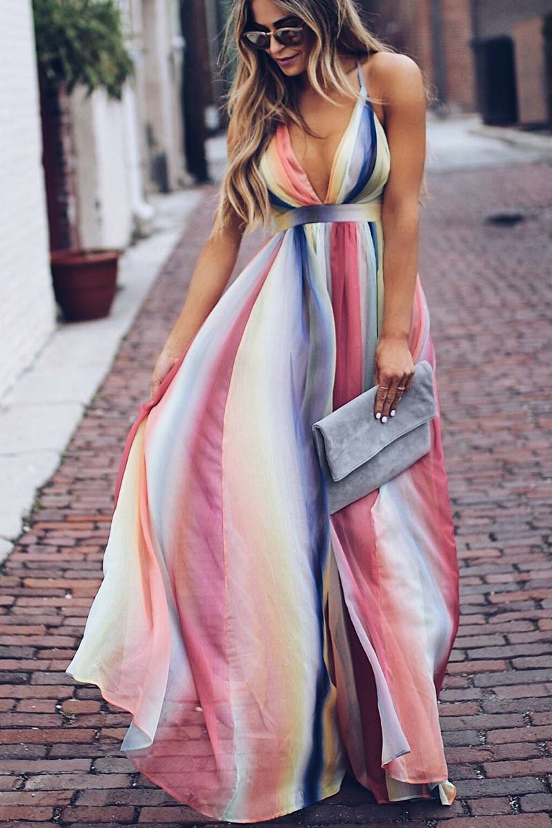 Borical Multicolor Printed Sexy Dress