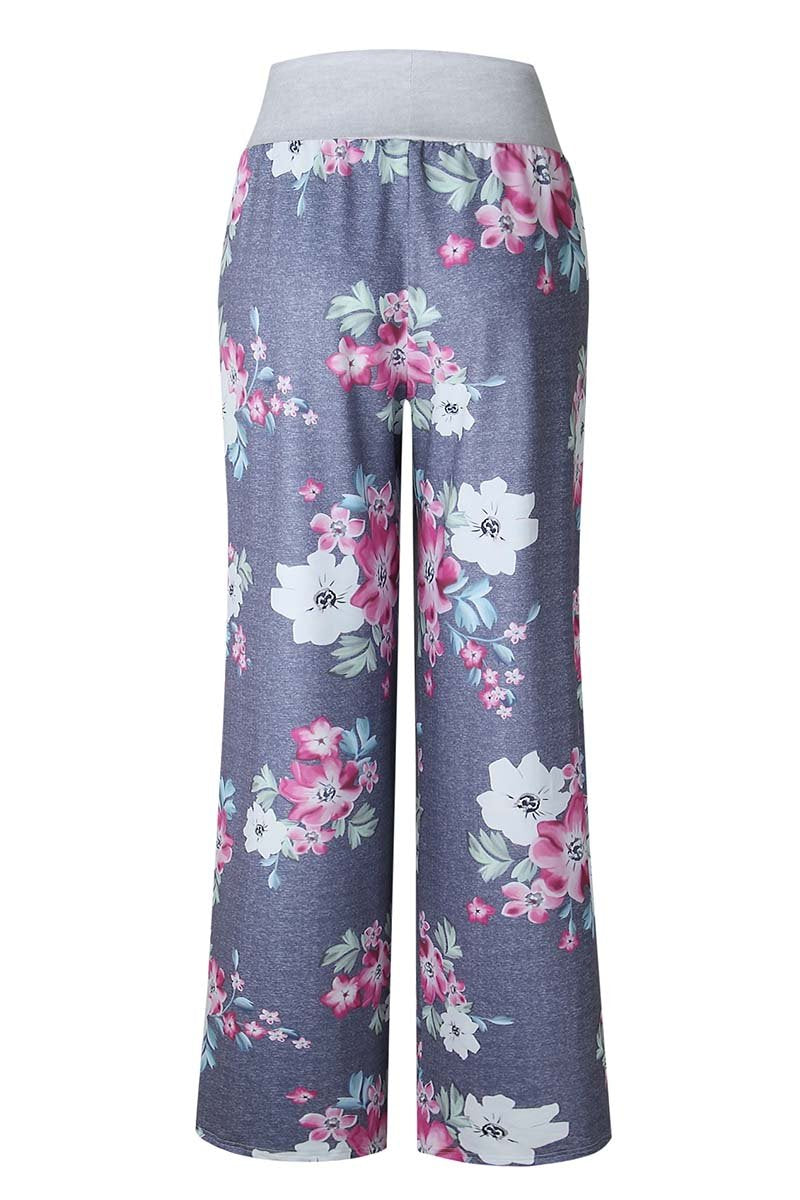 Borical Casual Gray Floral Pants