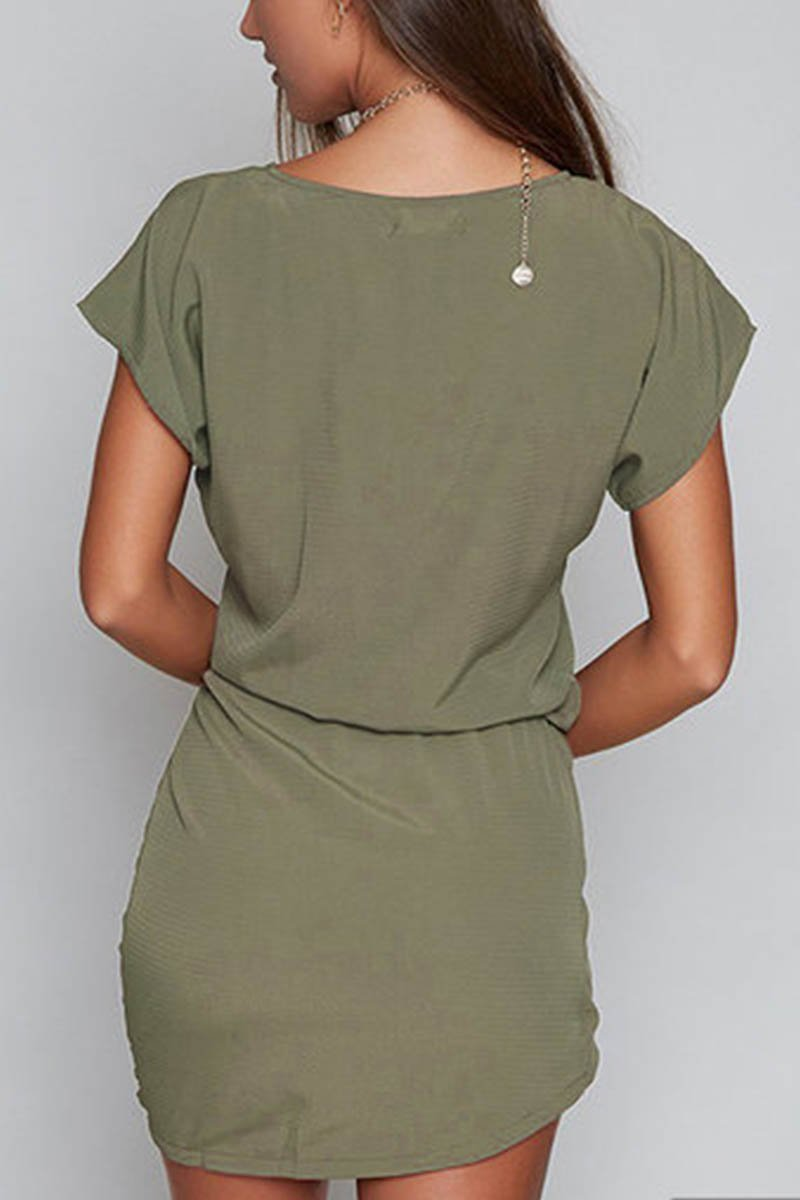 Borical Short Sleeve Belt Mini Dress