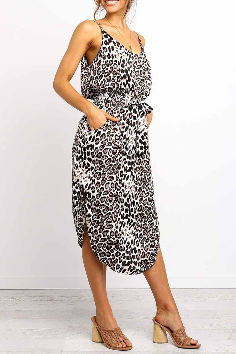 Borical Leopard Slit Midi Dresses With Pocket(2 Colors)