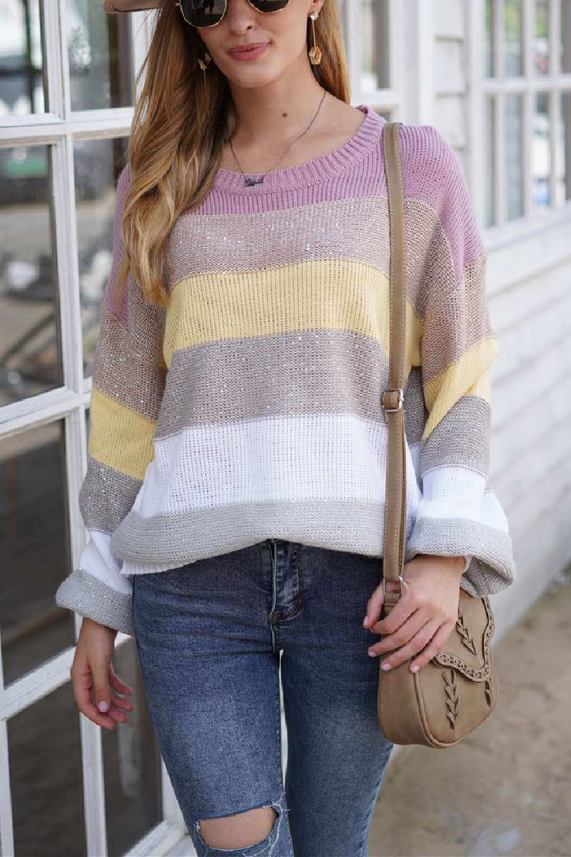 Borical Loose Round Neck Multicolor Knit Sweater