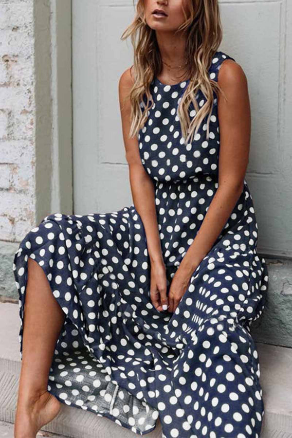 Borical Polka Dot Round Neck Dress 5 colors