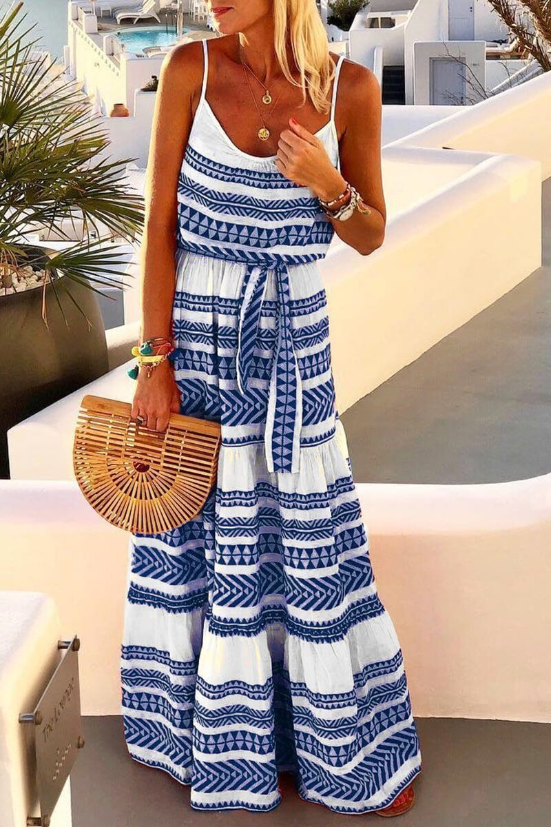 Geometric Printed Loose Maxi Dress