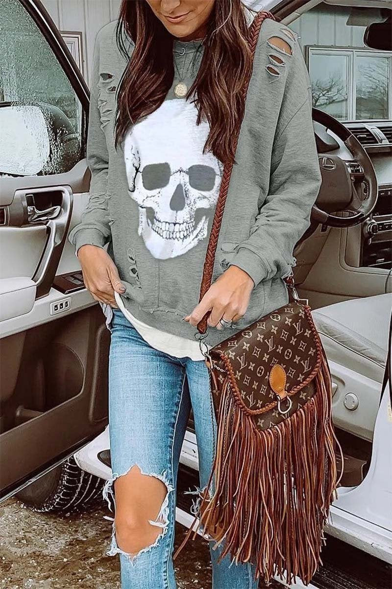 Borical Skull Printed Sweatshirt(3 Colors)