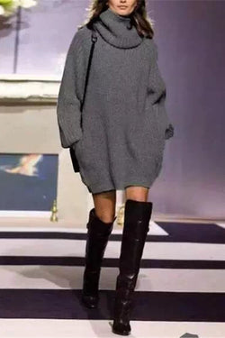 Borical Turtleneck Loose Pocket Sweater Dress