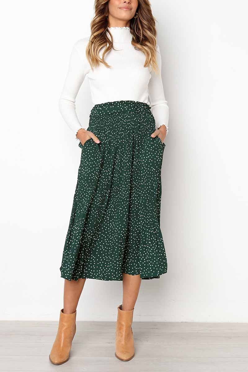Wild Polka Dot Green Skirt