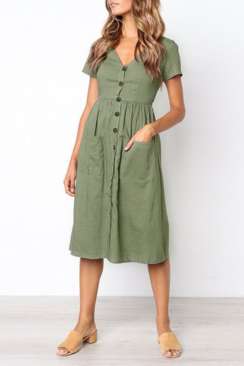 V-neck green Dress With botton