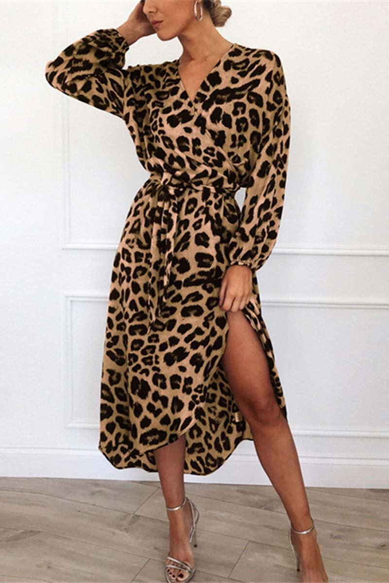 V Neck Sexy Leopard brown Dress