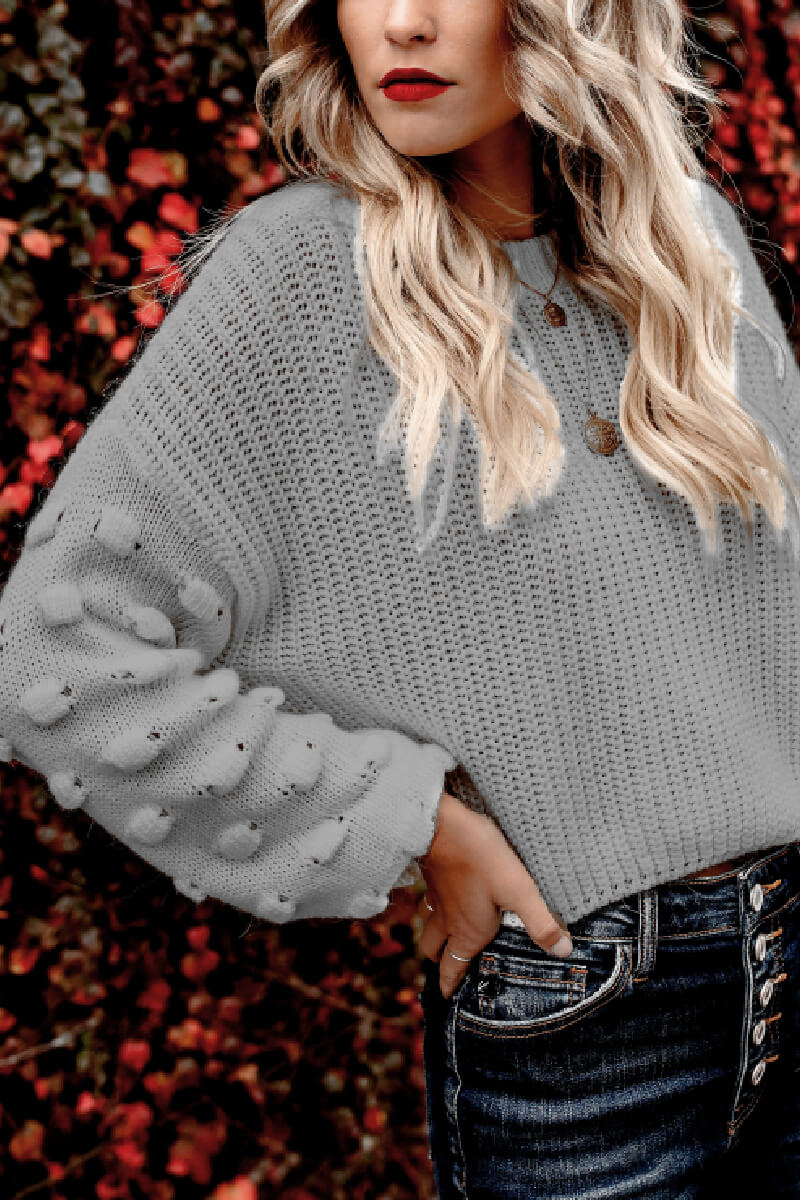 Borical Loose Puff Sleeve Knitted Sweater(3 colors)