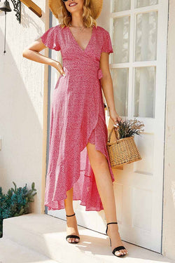 Casual Floral red Length Dress