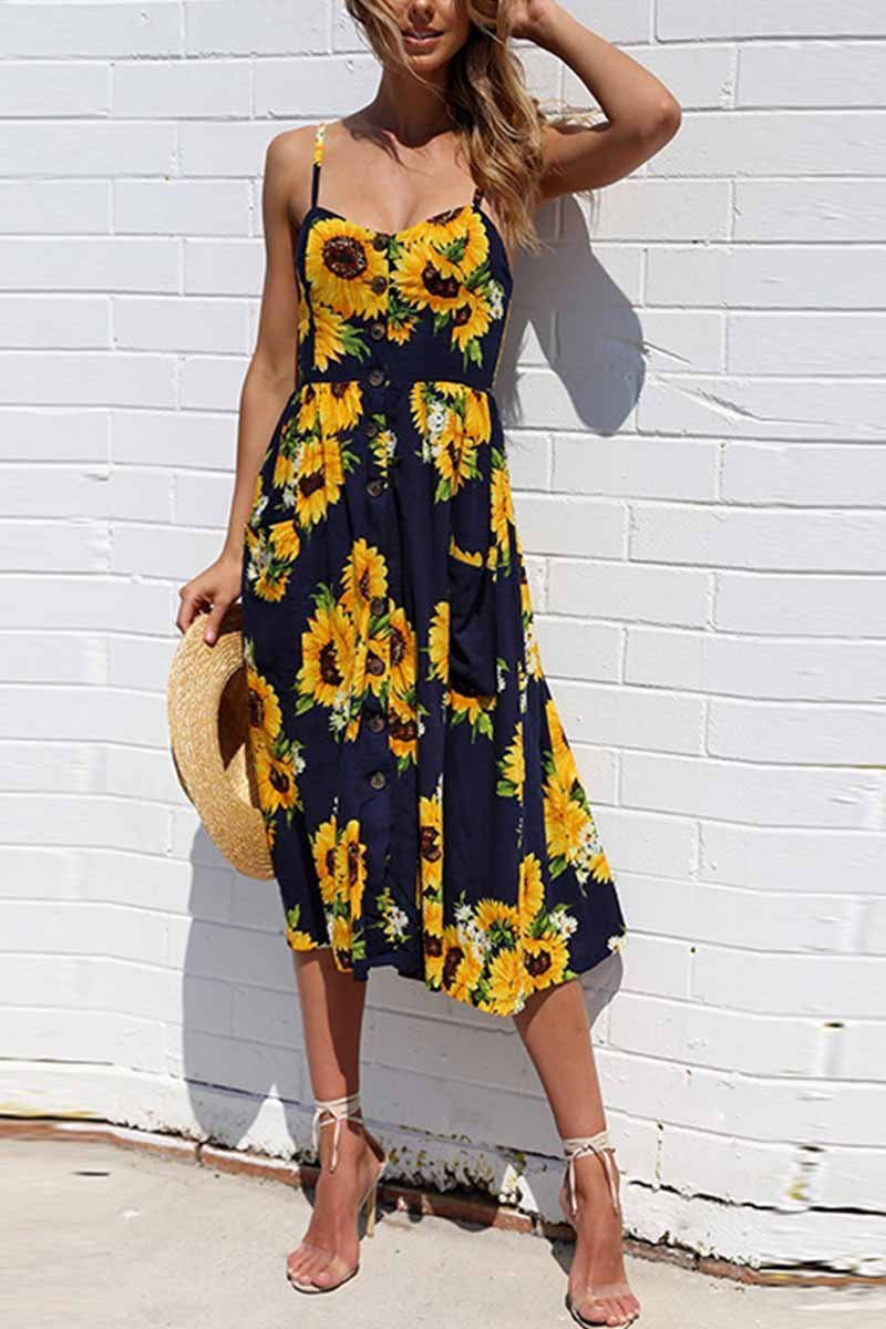 Sunflower Print Camisole Dress