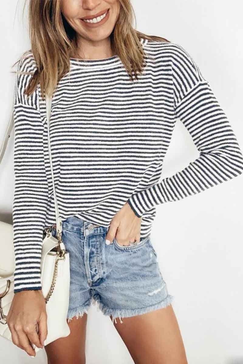 Borical Casual Loose Striped Tops