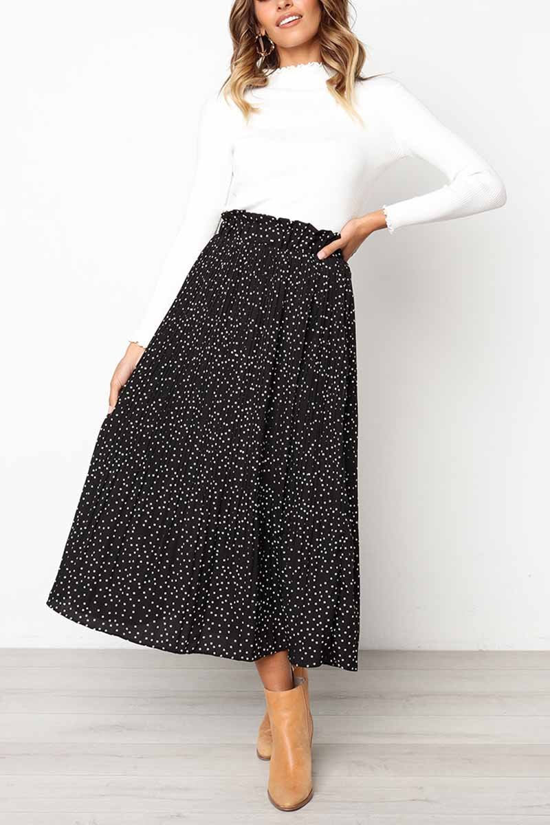 Wild Polka Dot Black Skirt