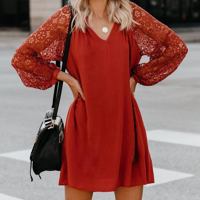 V-Neck Lace Mini Dress
