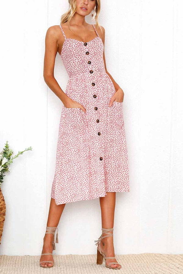 Pink floral printed midi dress with botton