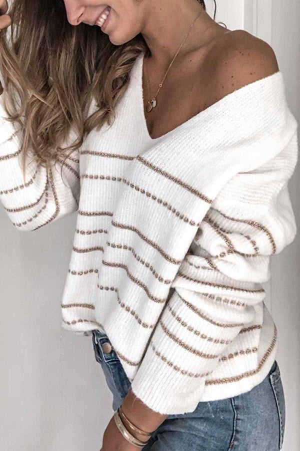 Borical Striped V-Neck Women's Sweater