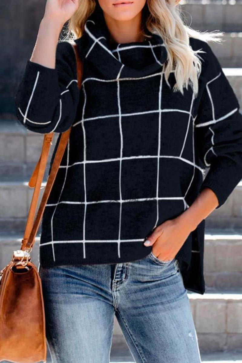 Borical Turtleneck Plaid Sweater