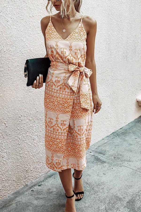 V Neck  orange Dress