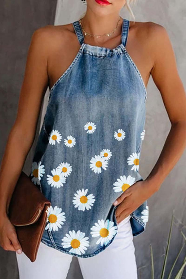 Borical Printed Denim Vest
