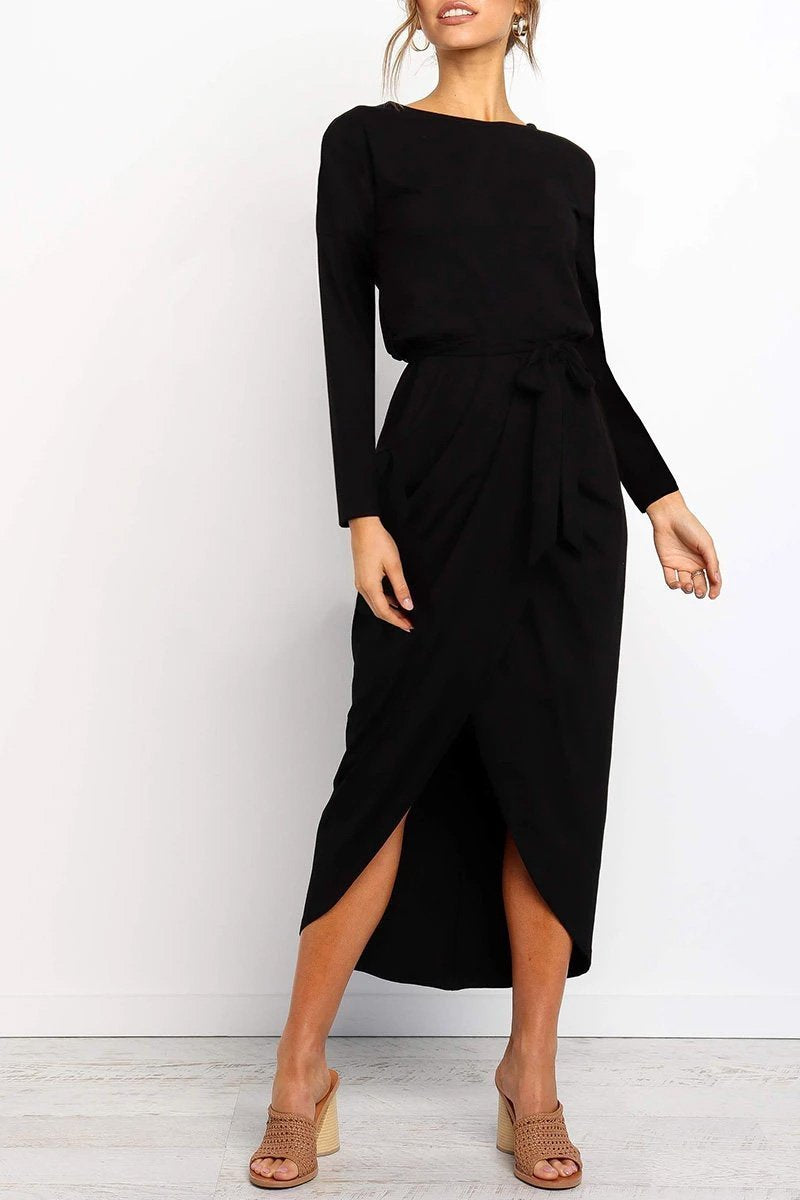 Long sleeve midi dress with belts