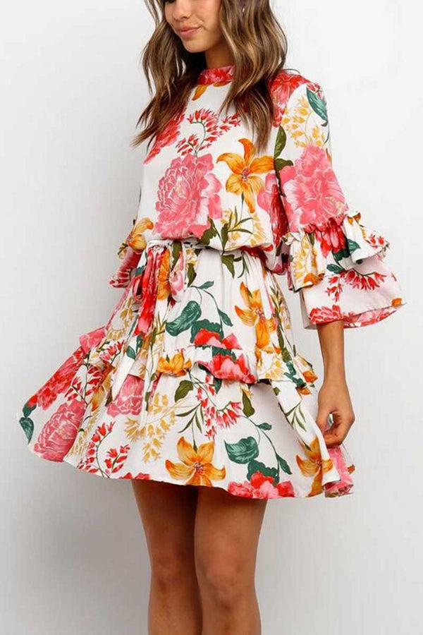 Borical Fashion Floral Round Neck Dress