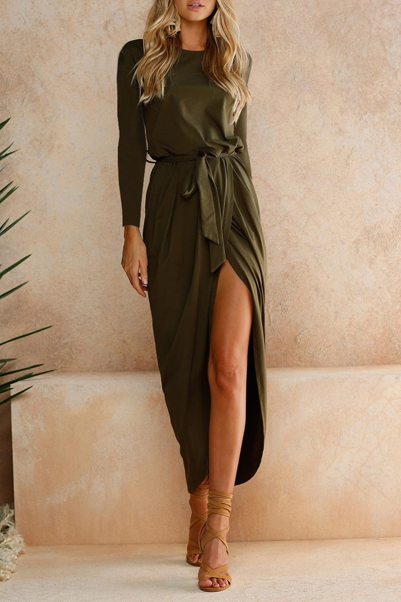 Round neck Casual green dress