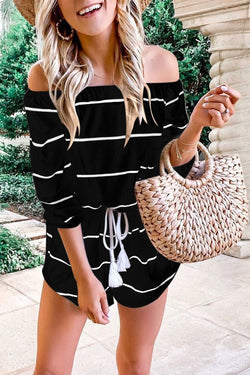 Borical Off The Shoulder Stripe Loose Romper(3 Colors)