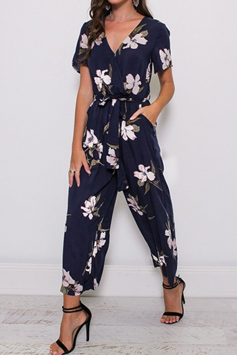 Borical Fashion Print V-Neck Jumpsuit
