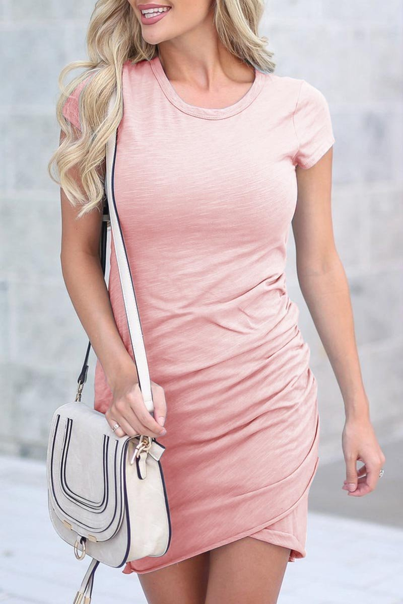 Casual pink mini dress