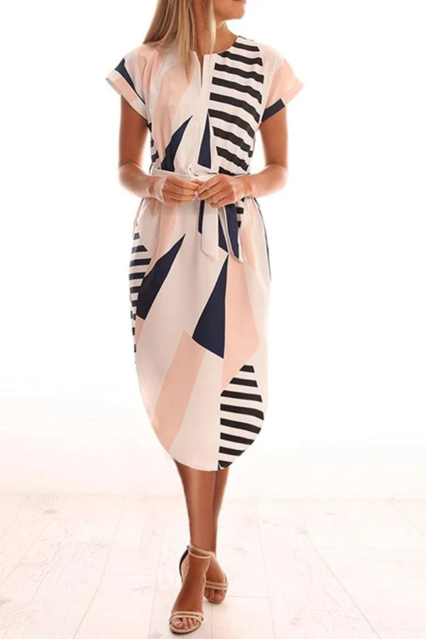 Borical Trendy Printed Asymmetrical Midi Dress(4 colors)