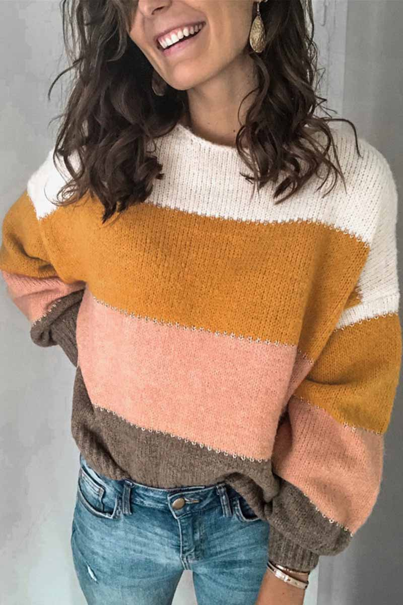 Borical Round Neck Striped Sweater