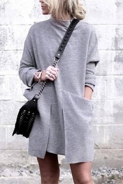 Fashion Round Neck Pocket Dress